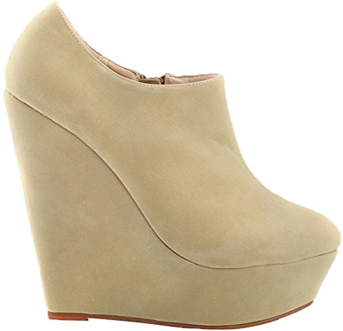 CFP Gentle 391 Business Elegant Charming PU Womens Convenient Heel YSE Comfy 5RB Toe Pliable Platform Thick Nude Antiskidding Round Cozy Pumps High Zipper Wedge Relaxation Office rSX5rwq