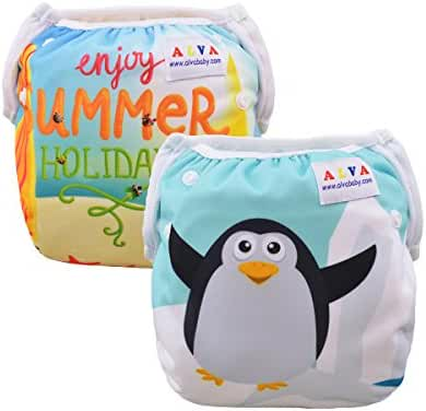 ALVABABY 2 PCS Pack One Size Reuseable Washable Infants Swim Diapers Adjustable & Stylish Fits for Baby Boys