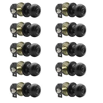 Image of 10 Pack Door Lock Round Privacy Door Knob Doorknobs Keyless Interior Door Lockset for Storage Room Bedroom Bathroom Matte Black Finish by Probrico Home Improvements