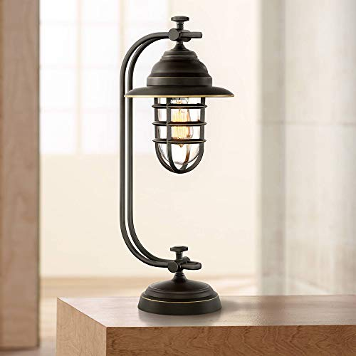 Knox Industrial Desk Table Lamp Oil Rubbed Bronze Cage Glass Shade Edison LED Filament for Bedroom Office - Franklin Iron Works