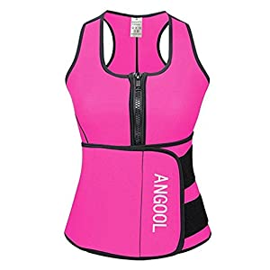 ANGOOL Women Waist Trainer Neoprene Sweat Sauna Vest with Adjustable Waist Trimmer Belt for Weight Loss