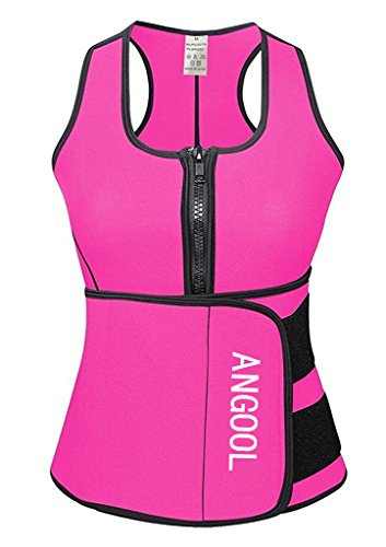 ANGOOL Neoprene Vest Waist Trainer Plus Size Slimming Vest for Women Weight Loss Pink 5X