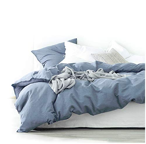 - Eikei Washed Cotton Chambray Duvet Cover Solid Color Casual Modern Style Bedding Set Relaxed Soft Feel Natural Wrinkled Look (Queen, Blue Denim)