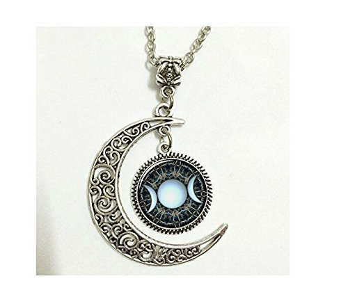 Full Moon Necklace Glass Art Picture Triple Goddess Pendant, Wiccan Jewelry, Moon Goddess Jewelry, Wiccan Necklace Charm (5)