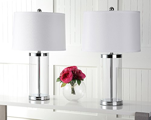 Safavieh Lighting Collection Jeanie Glass Cylinder 25.5-inch Table Lamp (Set of (Glass Cylinder Accent Lamps)