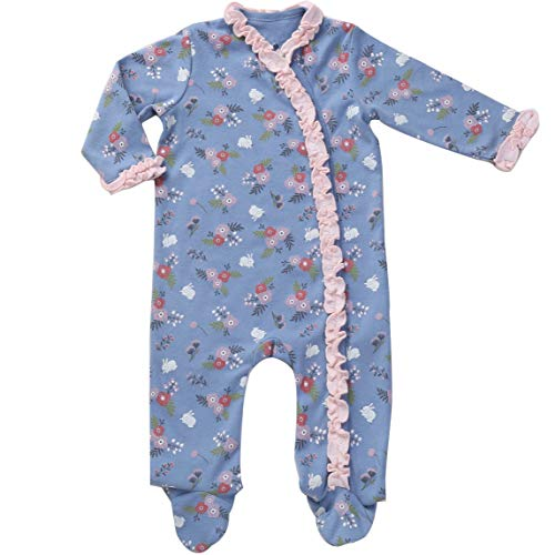 Footed Floral Pajamas Knotted Hat Side Snap Onesies Footie Baby Girl Jammies Indigo Blue