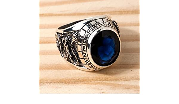 3310 BRAND NEW SAPPHIRE BLUE STONE JAPANESE TIGER /& DRAGON STERLING SILVER MENS RINGS Ring Size : 6-14 US size Code Silver Jewelry Thailand