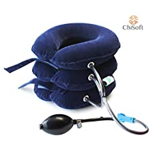 Best Inflatable Cervical Neck Traction Device - CHISOFT Neck Stretcher 3 Layers | UNIQUE 3-DETACHABLE AIR TUBES for SAFETY | Fast Neck Pain Relief | Longer Velcro Strap, Bigger Air Pump Pillow