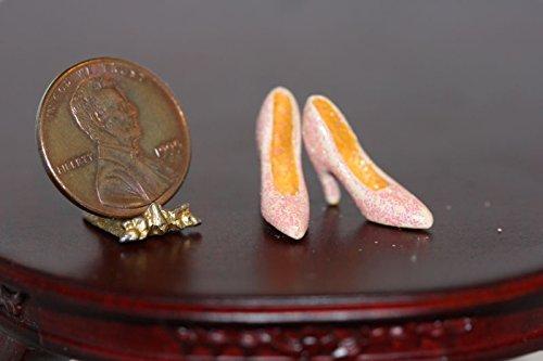 Dollhouse Miniature Sparkly Pink High Heels