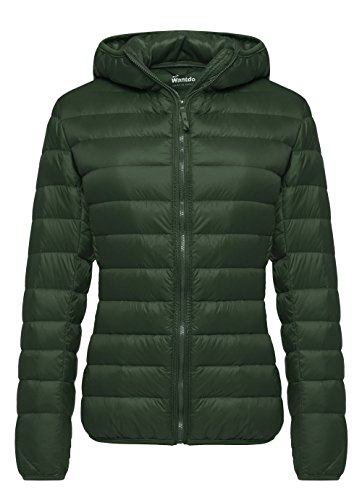 Wantdo Women's Hooded Packable Ultra Light Weight Short Down Jacket (X-Large, Dark Green) (Patagonia Womens Cotton Quilt Snap T Pullover Sale)