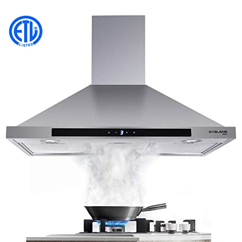 36″ Range Hood, GASLAND Chef PR36SS 36-inch Stainless Steel Wall Mount Kitchen Hood, 3 Speed 450-CFM Sensor Touch Control Exhaust Hood Fan, Convertible Chimney-Style, LED Lights, Aluminum Mesh Filters