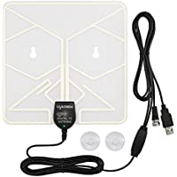 Leadsign TV Window Antenna 50 Miles Ultral Thin Amplified Digital HD Antenna with 16.5ft Coax Cable,Inline Amplifier and USB Power Supply-Transparent Design and Lightweight