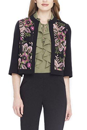 Tahari Brand - Folkloric Embroidered Crepe Jacket - Black - Pink - 14 by Tahari