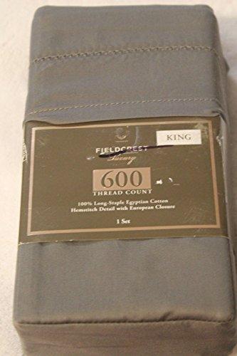 - Fieldcrest Luxury, 100% Egyptian Cotton Pillowcase Set, 600 Thread Count, Grey, KING