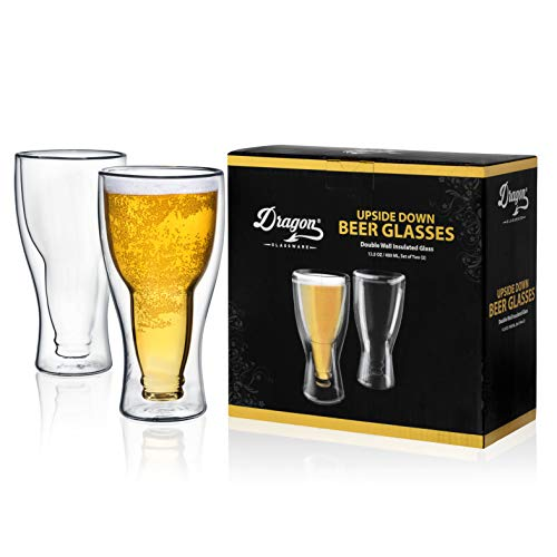 Dragon Glassware Beer Glasses, Premium Designer Mugs with Insulated Double-Walled Design, 13.5-Ounces, Gift Boxed - Set of 2
