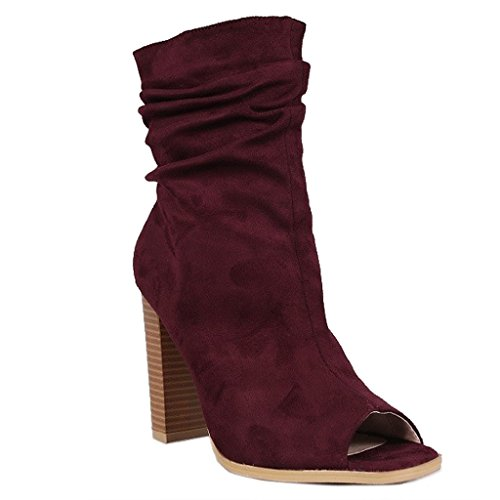 Womens Faux Suede Slouchy Peep Toe Block Heel Ankle Boot Bootie Ankle Bootie