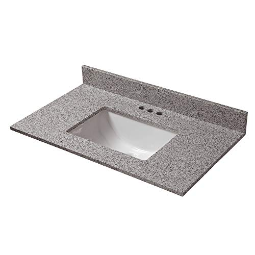 Napoli Granite Vanity Top - CAHABA CAVT0154 31 in x 19 in Napoli Granite Vanity Top with trough bowl and 4 in faucet spread