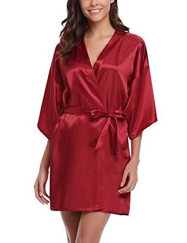 Abollria Women's Wedding Party Kimono Robes, Short,Satin Charmeuse Robes,Wine red,XL