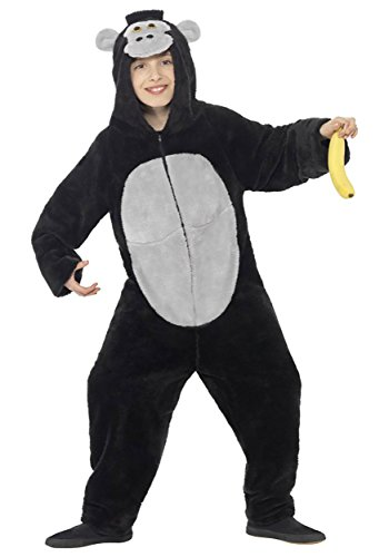 Smiffy's Children's Unisex All In One Gorilla Costume, Jumpsuit With Hood, -