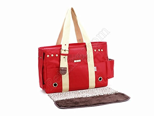petsmartpm 103RD Red Stylish Nylon Dog Carriers Bag Pet Totes Bag Puppy Carriers Purse Cat Handbag Doggy Cage by petsmartpm