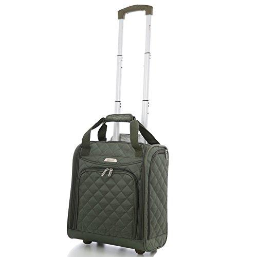 Aerolite - Aerolite Carry On Under Seat Wheeled Trolley Luggage Bag (Olive)