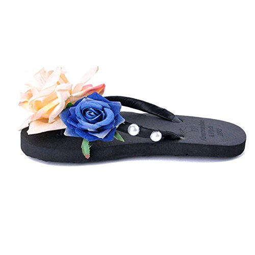 T Black Summer Flat Flip Antiskid with Women's Outdoor Flops Flowers Pearls Beach JULY Slippers Sandals rqF6wHr
