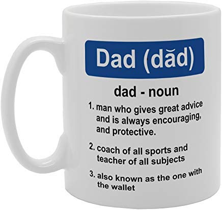 Fathers Day - Dictionary Dad (Dad) N Man Who Gives Great Advice and Mug Novelty White Ceramic Coffee Tea Cup,11 Oz, Christmas Mug,Birthday Retirement Gifts Mug
