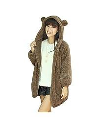 FUNOC Women's Casual Fluffy Outerwear Jacket Warm Fluffy Faux Fur Coat