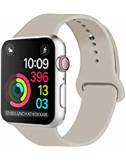 Idon Sport Watch Band, Soft Silicone Replacement Sports Band Compatible with Smart Watch Band 2018 Series 4/3/2/1 38MM 40MM 42MM 44MM for Smart Watch All Models(Vintage Rose,42MM S/M)