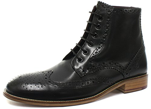 Suede Richelieus Black Homme London Gatsby black Hi Brogues Bottes Cuir 1BZwqzP5