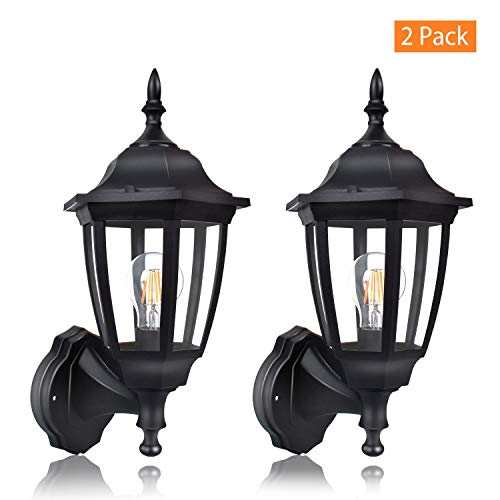 FUDESY 2-Pack Outdoor Wall Lanterns,12W Plastic Exterior Wall Lights with Hard Wire,Waterproof Porch Light Fixtures for Garage,Front Door,Patio,Yard,FDS2542EB2