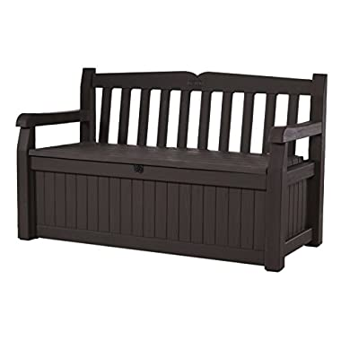 Keter Eden 70 Gal All Weather Outdoor Patio Storage Bench Deck Box,  Brown/Brown