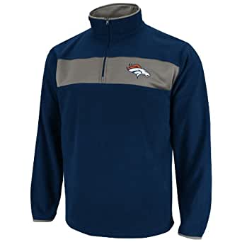 NFL Mens Denver Broncos Fade Route III Long Sleeve 1/4 Zip Micro Chiller (Athletic Navy/Storm Gray, X-Large)