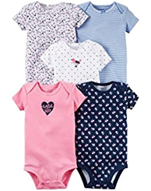 Baby Girls 5-Pack Short-Sleeve Soft Cotton Bodysuits