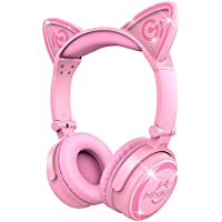 MindKoo Wireless Bluetooth Headphones - Cat Ear Flodable Headset LED Glowing Lights, Foldable Headset Microphone, Volume Control Soft Earmuff Cell Phone/TV/iPad, Pink
