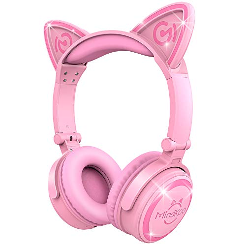 MindKoo Cute Wireless Bluetooth Headphones - Cat Ear Flodable Headset with LED Glowing Lights for Cell Phone, PC, Pink