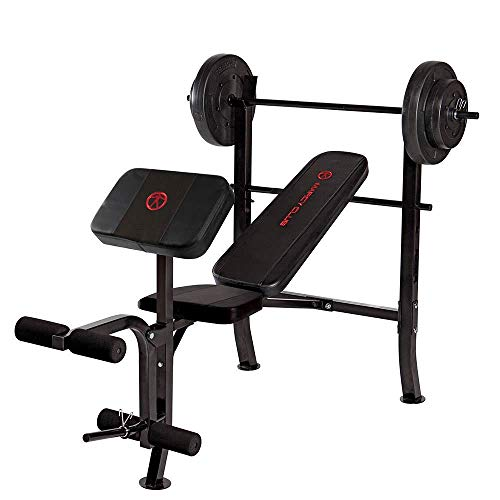 Marcy OPP Standard Bench with 80 lb Weight Set, Black/Black , OS
