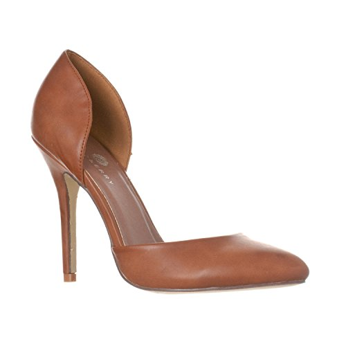 (Riverberry Women's Nora Pointed Toe, Slip On D'Orsay Pump Heels, Brown PU, 6.5)