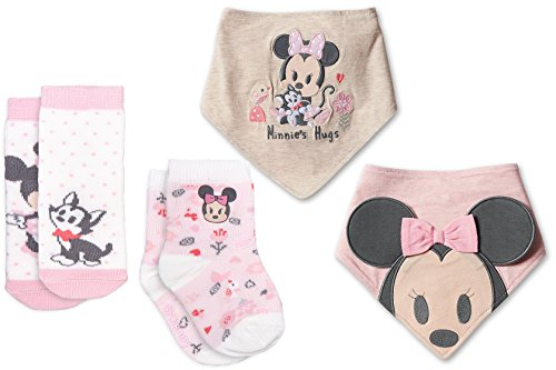 Minnie Mouse Hugs Bib & Sock Set for Baby 2-Pack Disney Pink Sock Set with Figaro the Kitten characters for Baby Soft Super Cute Matching Collection 2 Pink baby bibs - Disney Walt Tigger