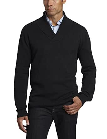 Perry Ellis Men's Shawl Collar Textured Sweater, Black, Medium