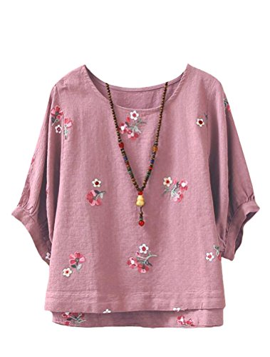 Haut Shirt Floral Femme Classique T Casual Top Rose MatchLife WtqSYwX7S