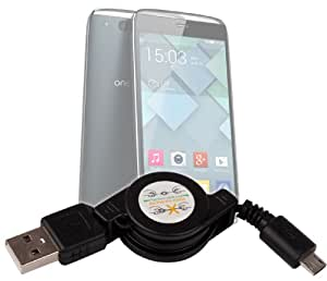 Cable retráctil Micro USB de sincronización y transferencia de datos para Smartphone Alcatel One Touch Idol 2 Mini y Mini S, Fire C, E y S