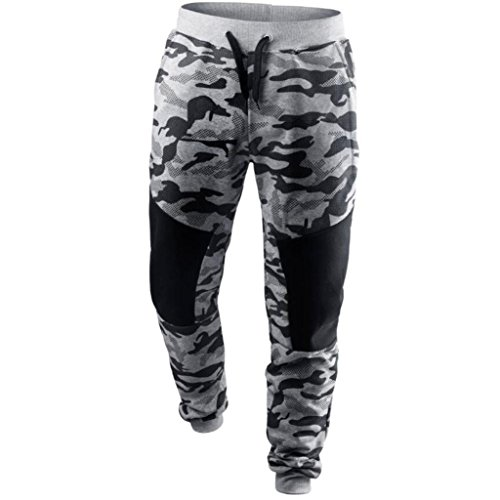 Sweat Patch - kaifongfu Camouflage Pants,Men Spring Casual Patchwork Camouflage Pants Sweatpants (L, Gray)