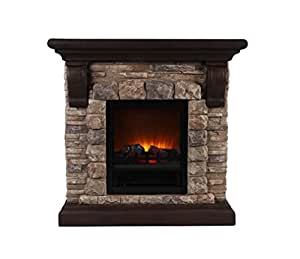 OK Lighting Portable Fireplace with Faux Stone Dark, Large