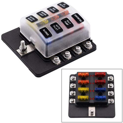 FidgetFidget Fuse Box 8 Way 12V Circuit Standard Blade Block Holder Case for Car ATV Camper ()