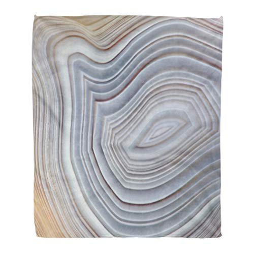 Golee Throw Blanket Amazing Banded Agate Crystal Cross Section As Natural Light Translucent 60x80 Inches Warm Fuzzy Soft Blanket for Bed Sofa