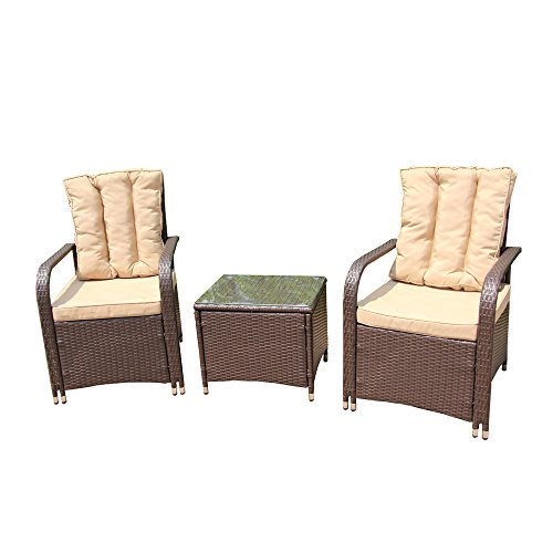 ALEKO RTF009BR Rattan Wicker 3 Piece Indoor Outdoor Conversation Set Furniture Chairs and Table for Backyard Pool Garden Brown with Cream Cushions (Cushion Bamboo Living Room Furniture Set With)