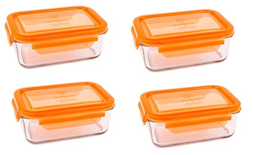 (Wean Green Lunch Tubs 23oz/695ml Glass Food Storage Containers - Carrot (Set of 4))