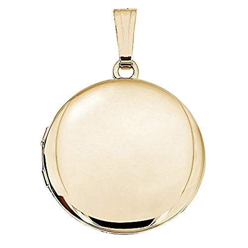 PicturesOnGold.com 14K Gold Filled Round Locket - 1 Inch X 1 Inch with Engraving