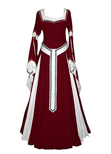 Misassy Womens Medieval Dress Renaissance Costumes Irish Over Long Dress Cosplay Retro Gown -